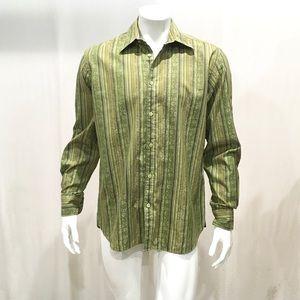 Ted Baker Men's Green Striped Floral Dress Shirt